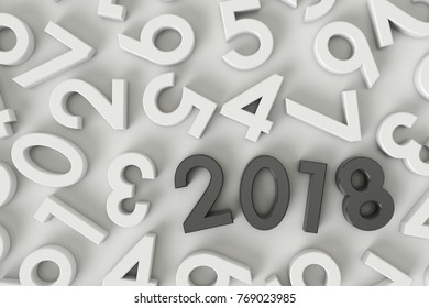 New Year 2018. black text Concept illustration. on white background. 3d render
