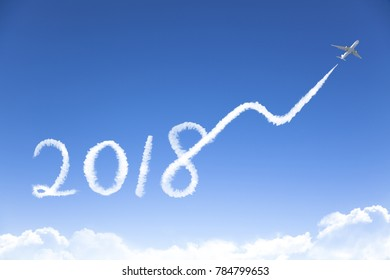 New year 2018 and business growth concept.drawing by airplane