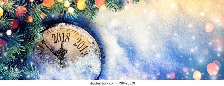 New Year 2018 - Celebration With Dial Clock On Snow - Vintage Effect
