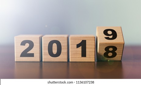 New year 2018 change to 2019 concept