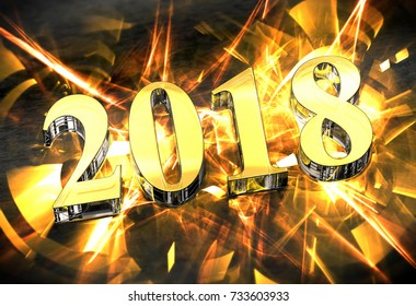 New Year 2018 Christmas celebration with golden caustics, 3d illustration