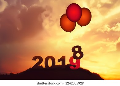 New Year 2018 is coming concept. Happy New Year 2018 replace 2017