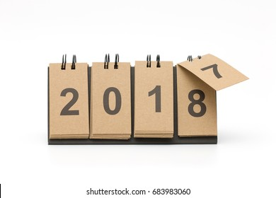 New Year 2018 is coming concept. Happy New Year 2018 replace 2017 concept isolated on white background.