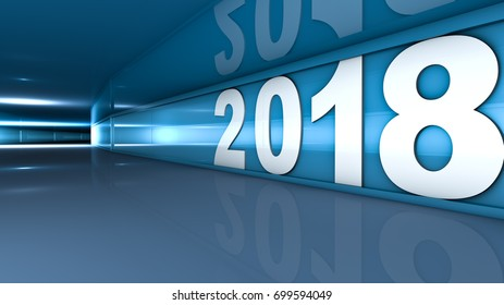 New year 2018 concept in 3d