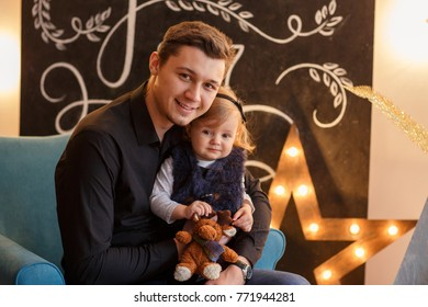 New Year 2018. Father and child, christmas concept