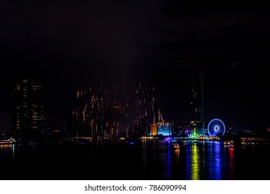 New Year 2018 Fireworks with Chao Phraya river, Bangkok, Thailand