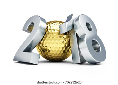 New Year 2018 golf ball gold on a white background 3D illustration, 3D rendering
