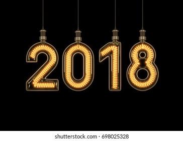 New year 2018 made of light bulb. 3D illustration