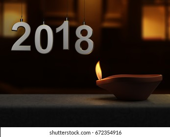 New year 2018 with Oil Lamp - 3D Rendering Image
