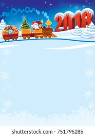New Year 2018 and Santa Claus in a toy train with gifts and Christmas tree.