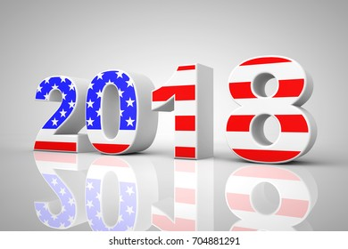 New Year 2018 Sign as USA Flag on a grey background. 3d Rendering