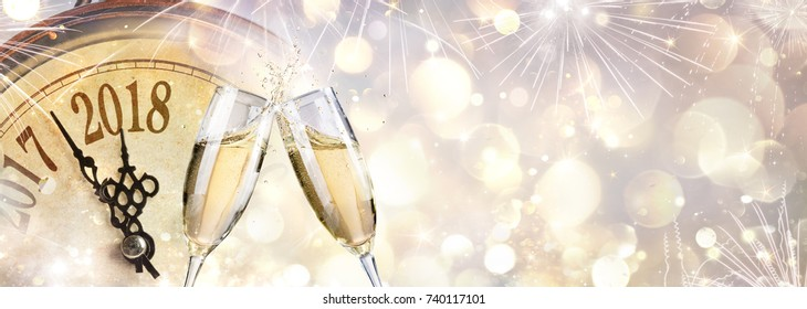 New Year 2018 - Toast With Champagne And Clock
