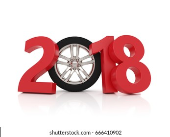 New Year 2018 with Wheel - 3D Rendering Image