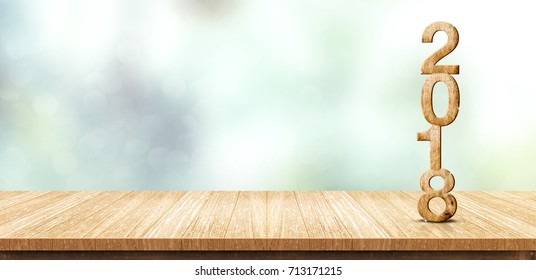 New year 2018 wood number (3d rendering) on wooden plank table at blur abstract green bokeh background,Mock up banner space for display or montage of product,business presentation