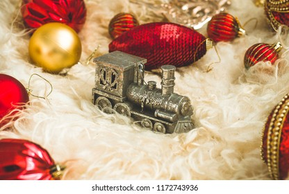new year 2019 background with figures christmas toys on a background of natural warm skin