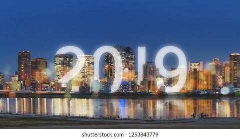 New Year 2019 in the city. Panoramic city at night with happy new year 2019 celebration