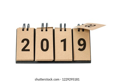 New Year 2019 is coming concept. 2019 replace 2018 concept isolated on white background.