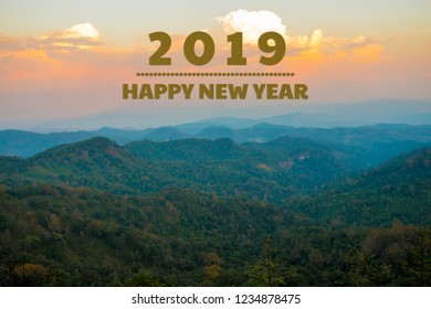 New year 2019 concept : Happy new year and sunset view landscape background.