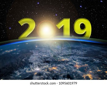 New Year 2019 concept - sunrise on Earth with digits with lens flare. 3D rendering. Elements of this image furnished by NASA