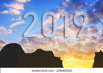 New Year 2019 concept. Text for 2019 new year on the sky