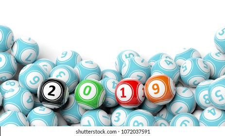 New year 2019 digits on bingo balls. Bingo lottery balls heap on white background, copy space. 3d illustration