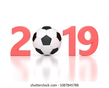New Year 2019 with Football - 3D Rendered Image