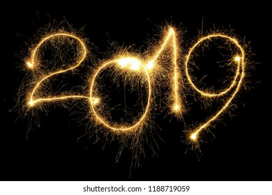 New Year 2019 formed from sparking digits over black background