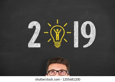 New Year 2019 Human Resource Concepts on Blackboard Background