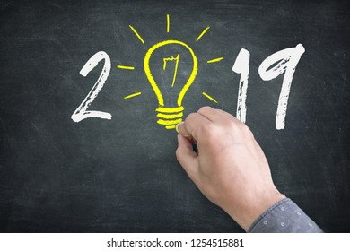 New Year 2019 Idea Concepts with Light Bulbs