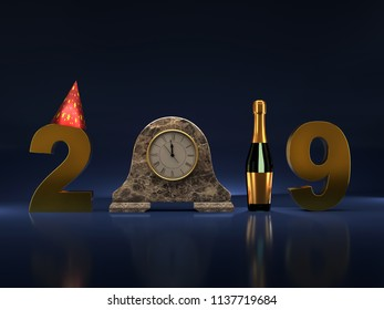 New Year 2019 made of golden digits, table clock, bottle of champagne and party cone with mirror reflection effect on dark blue background