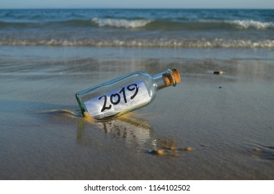 New Year 2019, message in a bottle