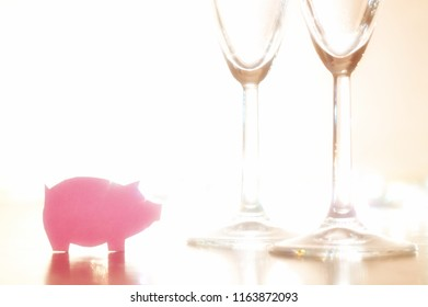 new year 2019. year of pig. symbol on  the festive table with champagne glasses