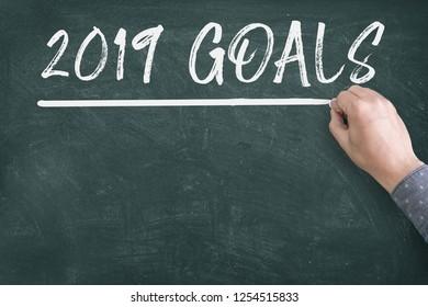 New year 2019 resolutions goal on blackboard