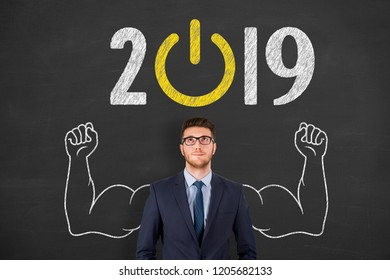 New Year 2019 Start Up Concepts on Blackboard Background