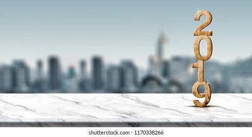 New year 2019 wood number (3d rendering) on white marble table at blur abstract cityscape bokeh background,Mock up banner space for display or montage of product,holiday celebration greeting card