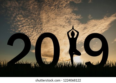 New year 2019 yoga concept woman pose
