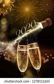 New Year 2020, champagne bubbles in the glasses