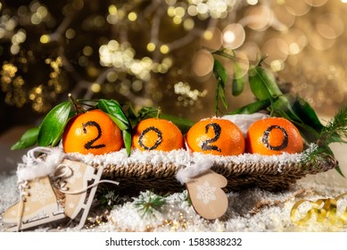 New Year 2020 is Coming Concept. Numbers written in Black Ink on the Oranges that are laying in the Basket with Pine Sticks and Xmas Lights on the Background