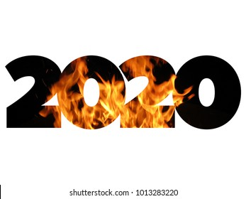 New year 2020 of fire isolated on white background, card