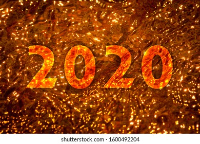 New Year 2020. Sunlight turned orange from the smoke of the Australian bushfires reflected in waters of Leura Falls Creek in the Blue Mountains.