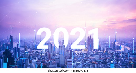 New year 2021 forward to next futrue concept. Modern digital network connection technology for futuristic on cityscaped with line connect cyber punk theme color.