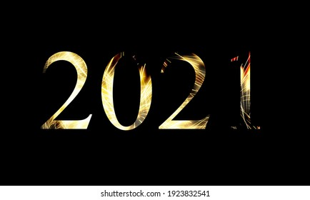 New Year 2021 light. Sparklers draw text 2021. Bengal lights and letter