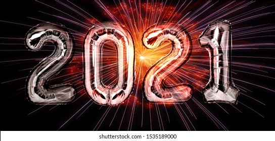 New Year 2021 silver balloons with fireworks