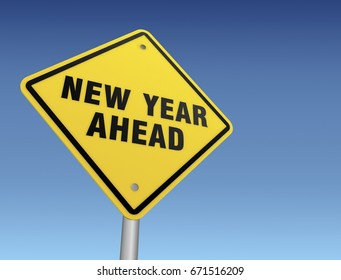 new year ahead road sign 3d concept illustration on sky background