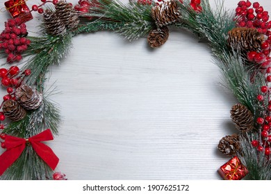 new year attributes on a white background with a branch of a christmas tree