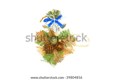 new year background with bell and pine branch