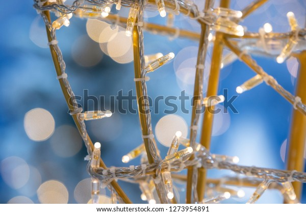 New year background with lighting tree and snowman