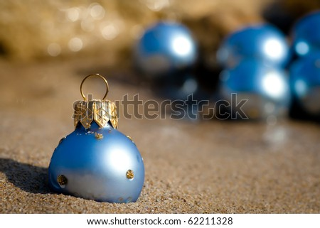 New Year Beach Christmas Ornaments Standing Stock Photo Edit Now