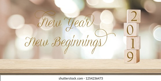 New year New beginnings, 2019 positive quotation on blur abstract background, new year greeting card banner