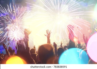 New Year blurred crowd background